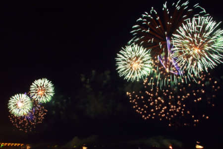 blurred multi-colored flashes of fireworks exploding