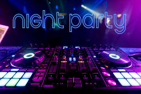 Text Night Party on the background of the dj mixer Stock fotó