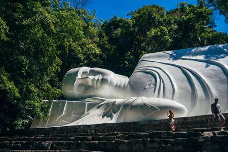 Reclining Buddha in Linh Son Truong Tho pagoda on the mountain Ta Cu