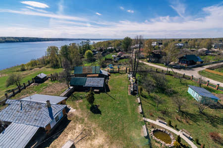 Top view of a rural village on the banks of the Volga river in Russia Stock fotó