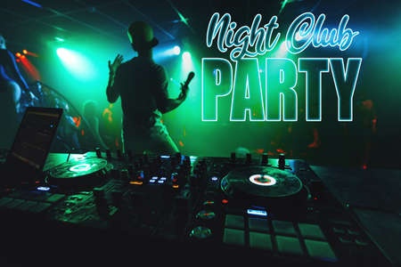 inscription Night Club Party on the background of the music mixer DJ Archivio Fotografico