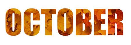 Design October text on a white background Banco de Imagens