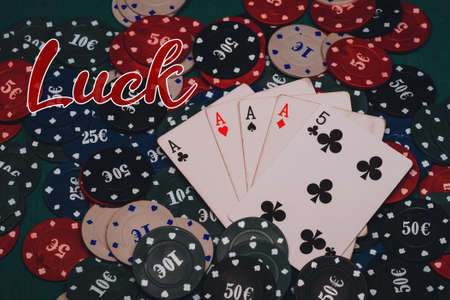 concept of luck. Game chips and cards for playing poker