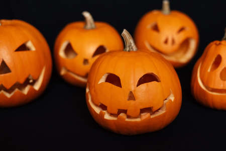 Jacks orange pumpkin lantern for Halloween fall Banco de Imagens