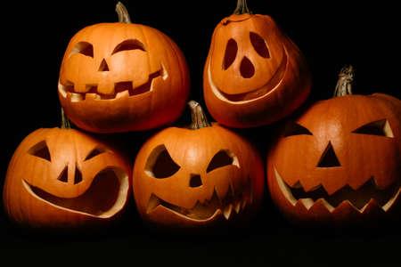 Halloween orange pumpkins. Jacks lantern for holiday