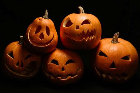 festive autumn card with orange pumpkins for Halloween Banco de Imagens