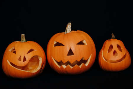 Jack-o  - pumpkin lantern on dark background for Halloween Banco de Imagens
