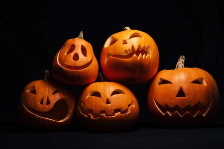 orange Jack-o  - lantern pumpkins for autumn Halloween celebration