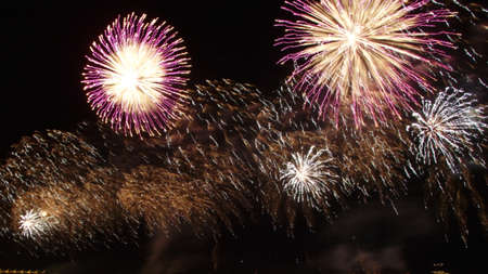 blurred multicolored flashes of fireworks