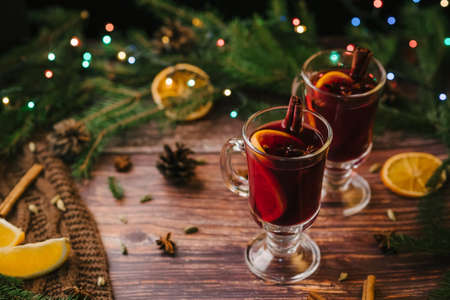 mulled wine in glasses on the table with Christmas decor Stok Fotoğraf