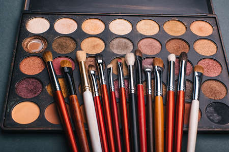 makeup brush set and professional eye shadow palette