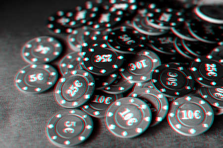 gaming chips for gambling card games and poker on the background of a green table Stok Fotoğraf