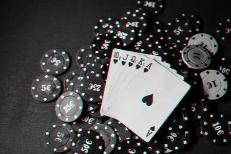 layout of cards with the Royal flush on the chips