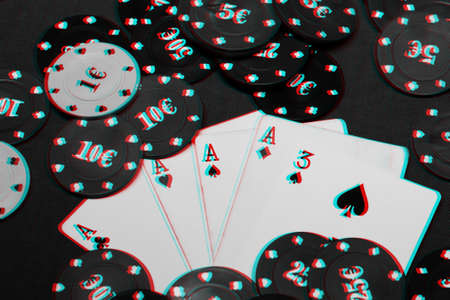 four of a kind aces poker gaming chips. Winning combination of cards on the table in casino