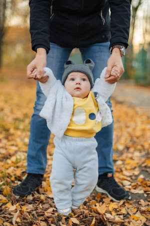 little baby boy learns to take first steps holding dads hands Stok Fotoğraf