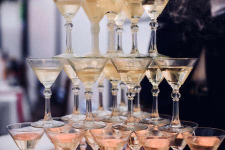 pyramid of Martini glasses for champagne 版權商用圖片