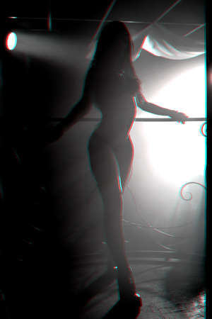blurred silhouette of sexy young girl dancer go-go posing on counter of night club