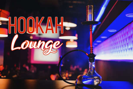 Beautiful hookah on the table in the interior of the restaurant