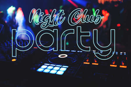 Night Club Party inscription on the background of the music mixer Banco de Imagens