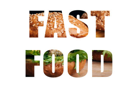 Fast Food text design on white background Banco de Imagens