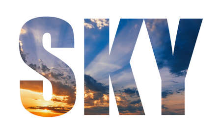 inscription on the sky blue background of clouds with sunset Banco de Imagens