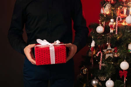 hands of man with a gift box at Christmas tree for celebrating the new year