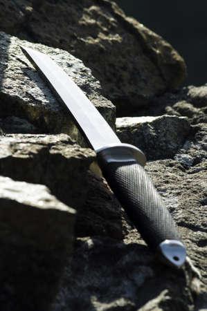 wakizashi: Tanto knife on rock