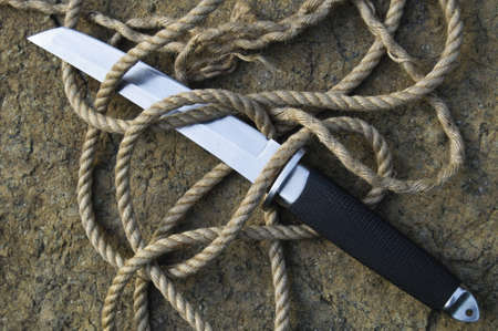 Tanto knife with a rope
