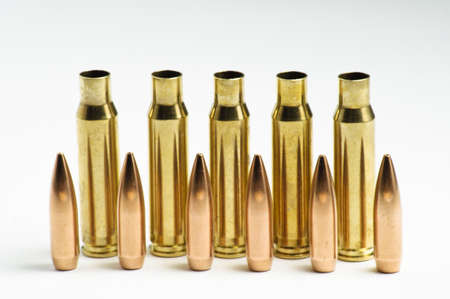Rifle bullets separated Stock Photo - 19935830