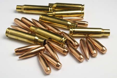 Rifle bullets separated Stock Photo