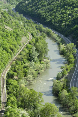 River, railroad and the highway Stock Photo