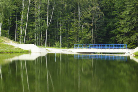 Lake and blue bridge