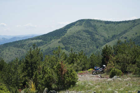 Motorcycle at the mountain top photo