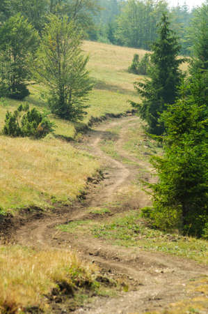 Off road mountain trail for cycling and hiking Stock Photo