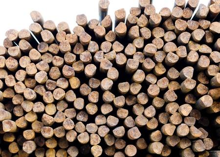 strenghten: rusty steel rods on stock