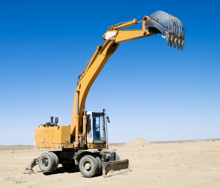 excavator loader during  works outdoors at construction site  Stock Photo - 19735536