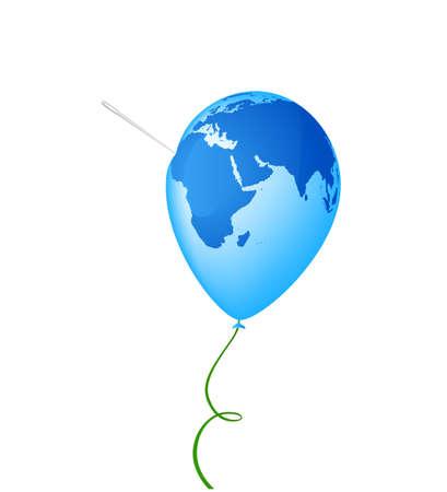 calamiteit: Planeet van de aarde met een naald erin