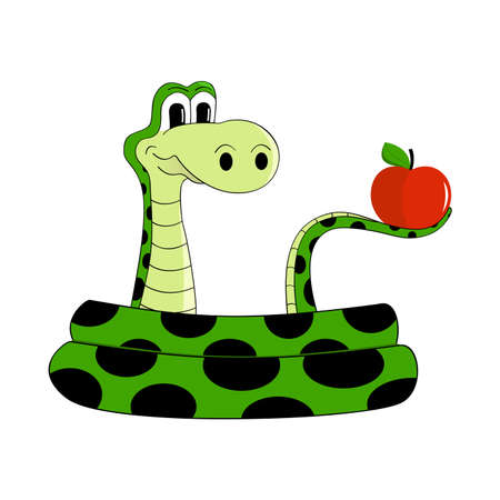adam eve: Sly snake with an apple  Illustration