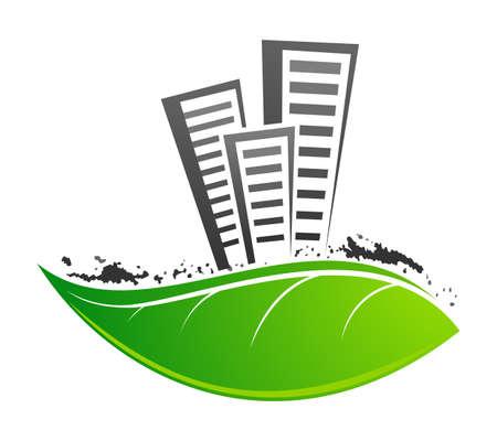 urbanization: Fresh leaf with dirty buildings on it