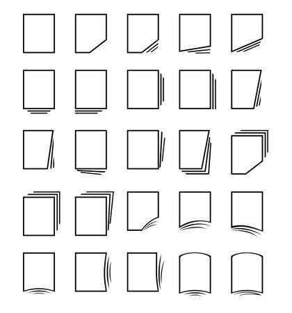 filling folder: Vector icon set: pages and files