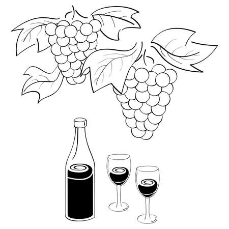 bocal: Bunches of grapes, bottle of wine and glasses