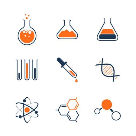 Chemia prosty zestaw ikon wektorowych - butelki, rurki, płyny, DNA, cząsteczki i atomy