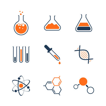 Chemistry simple vector icon set - bottles, tubes, liquids, dna, molecules and atoms Vectores