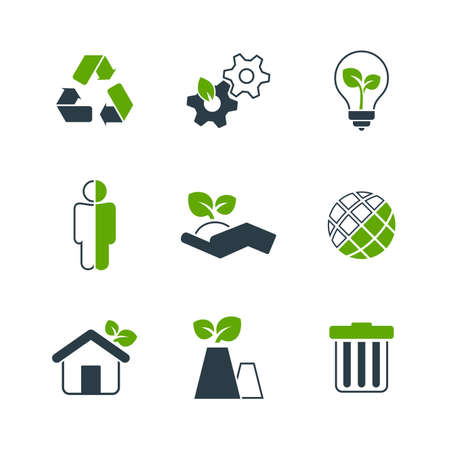 pollution free: Ecology simple vector icon set - nature, industry, balance, human activity, globe, lamp, sprout