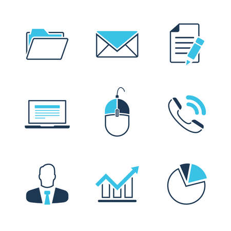Office simple vector icon set - folder, envelope, document, notebook, mouse, phone, clerk, diagram