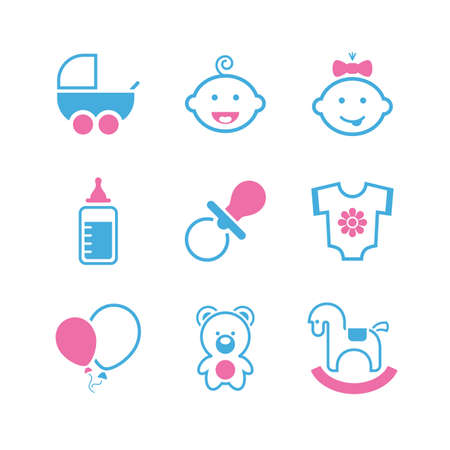 nipple girl: Baby   icon set - boy, girl, pram, dummy, bottle, romper suit, balloon, bear cub and toy horse
