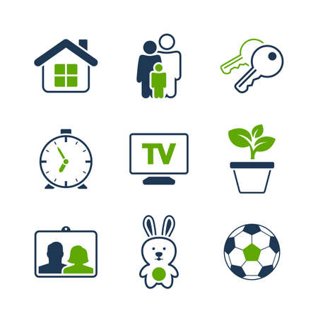 Home simple vector icon set - house, family, key, clock, tv, plant, photography, toy and ball Vector