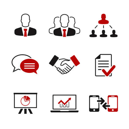 Business simple vector icon set - businessman, company, career, conversation, bargain, contract, presentation, notebook, phone Illustration