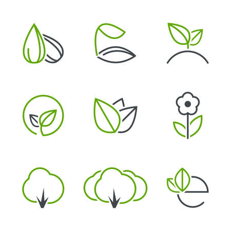 Spring simple vector icon set - seed, sprout, plant, leaf, flower, tree, forest, ecology  イラスト・ベクター素材