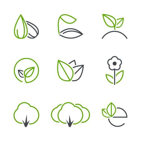 봄 간단한 벡터 아이콘 세트 - 씨앗, 새싹, 식물, 잎, 꽃, 나무, 숲, 생태